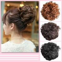 Natural Womens Pony Tail Clip in/on Hair Bun Hairpiece Hair Extension Bangs .UK