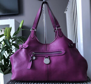 Lovely Genuine MULBERRY SOMERSET TOTE Over SHOULDER BAG Handbag Purple Leather