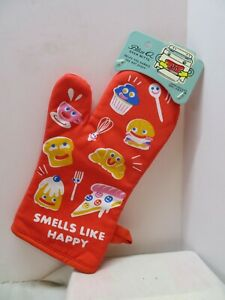 "Blue Q Kitchen Oven Hot Mitt Glove ""SMELLS LIKE HAPPY"" Insulated  Gift Fun Humor"