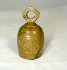 Vintage Antique Baby Bell Rattle Toy Metal Brass Inscribed Rocker Tree 2.2 oz.