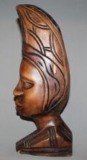 VINTAGE HAND CARVING WOOD HEAD STATUE