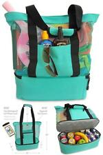 Mesh Beach Tote Bag with Insulated Picnic Cooler Summer Swimming Pool Turquoise