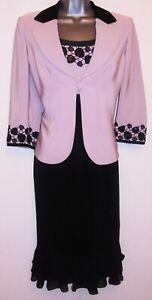 Coterie Mother of Bride Occasion Pale Pink & Black Embellished Dress & Jacket 12
