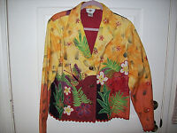 LADIES FLORAL PRINT JACKET WITH SHOULDER PADS Sandy Starkman Design SIZE XLARGE
