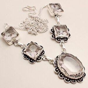 White Topaz Gemstone Ethnic Gift Handmade Necklace Jewelry 30 Gms NRN-554