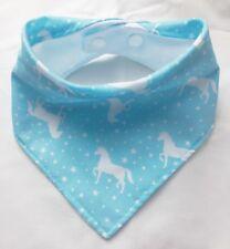 Babero de bebé, Pañuelo regate, hecho a mano, diversión, unicornios en Azul