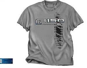 Powered by Ford T-Shirt - Gray w/ F150 Pickup Truck Logo / Emblem (Licensed)