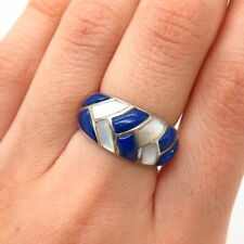 925 Sterling Silver Lapis Lazuli Gem & Mother-Of-Pearl Braided Ring Size 6 1/4