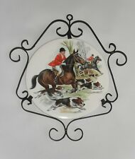 Horse Hunting Dog Equestrian Vtg. Victorian English Round Tile Frame T & R Boote