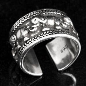 Silberring Silber 925 Ring  Verstellbar Offen Glücksbringer Elefant massiv