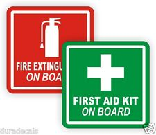 "3"" Fire Extinguisher / First Aid Kit on Board Vinyl Decals / Stickers Labels"
