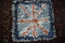 Carpet rug shredded  denim shaggy  85x85cm blue & orange