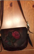 Handmade Hippie Brown Leather Handbag Purse w/ Carved Painted Rose and Wallet