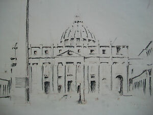 ST. PETER'S BASILICA - Charcoal Drawing - Signed - Unframed - Italy - Circa 1984
