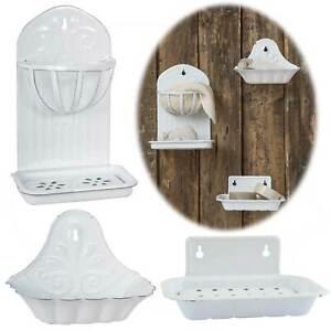 Vintage Seifenschale Emaille Antik Weiß Wandmontage Seifenablage Seifenhalter