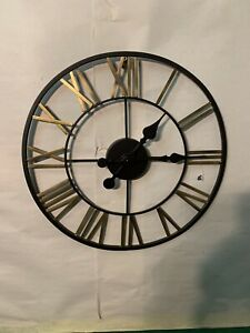 LARGE ROMAN NUMERALS SKELETON WALL CLOCK OPEN FACE ROUND 14,1/2 Inches