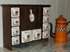 Fabulous Vintage FRENCH CANISTER SET in WOODEN HOLDER - Buffet drawers shaped