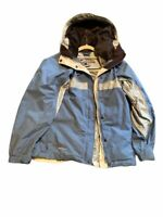 Columbia Womens Ski Jacket Blue White Color Block Zip Up Lined Hooded Pockets S