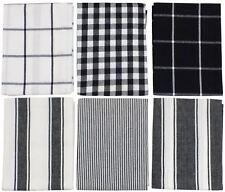 6x cuadros vichy a Rayas Rayas Negro Blanco 100% algodón paños de cocina