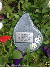 PERSONALISED MEMORIAL PLAQUE/ STONE/ GRAVEMARKER TEARDROP