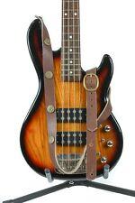 "1 1/4"" Wide Shotgun Shell Dark Brown Saddle Leather Buckle Guitar Strap"