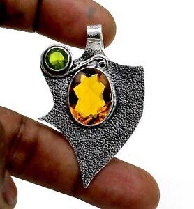 "925 Sterling Silver Yellow Citrine & Peridot Gemstone Jewelry Pendant Size-1.80"""