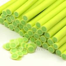 3x Handmade Green Lemon Canes - Nail Art (cnc32)