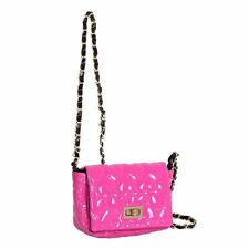 Pink Patent Heart Quilted Small Turnlock Fastening Crossbody Bag Box2204 n