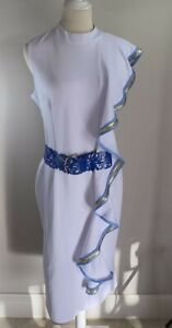 White Grecian Dress with Belt and Gold / Blue Trim - Size 14 - Preowned VGC
