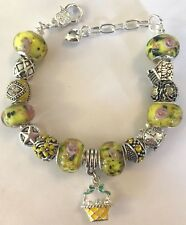 ❤️European CHARM BEADS BRACELET ~ YELLOW Beads w/ Sterling Silver Plated Chain❤️