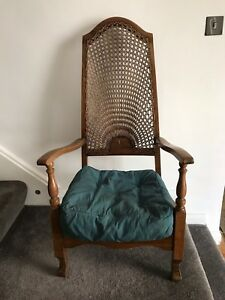 Antique 1920s Fireside Chair Open Arms Cane Back Original Horsehair Cushion