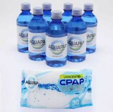 AQUAPAP CPAP Distilled Water 7Pk 12 Oz Bottles & CPAP Wipes (30 Count) Apnea