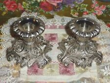 "Lovely 3"" High Ornate Tarnish Resistant Candle Holders, By Liards, New Old Stock"
