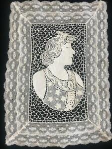 GORGEOUS ANTIQUE c.1910 FIGURAL POINT de VENISE NEEDLE LACE TABLE MAT /INSERTION