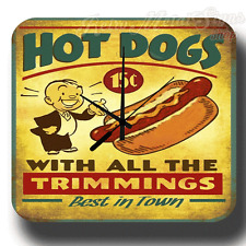 HOT DOGS AMERICAN DINER BAR KITCHEN  VINTAGE RETRO METAL TIN SIGN WALL CLOCK