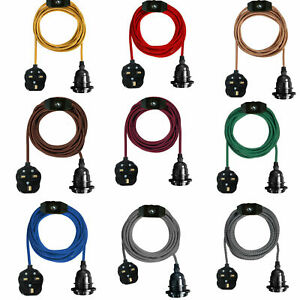 E27 Vintage Fabric Flex Cable Plug In Pendant Lamp Light 4M Set Fitting Bulbs