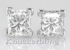 Diamond Solitaire Studs 4.00ct Certificated D IF VG Princess Cut in Platinum