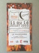 PROGAMME FRANCOFOLIES LA ROCHELLE EDITION 2003 FESTIVAL ROCHELAIS ANNULE