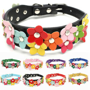 Pet Puppy Adjustable Necklace Cat Dog Collar PU Leather Flowers Supplies