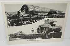 Vintage 1930`s Train Photo Print of Military Equipment Transported by Rail