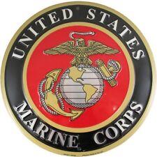 """United States Marine Corps USMC 12"""" Round Metal Sign Embossed Patriotic Decor"""