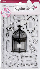 Papermania set of 27 Tweet clear stamps Birds cage hearts borders sentiments