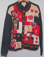 Heirloom Collectibles Christmas Cardigan Sweater XL Red Black Embroidered Santa