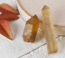 Raw CITRINE Crystal Points - Lot of 2 Small Crystals from Mansa, Zambia E0424