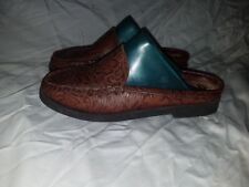 Decoys Auditions Womens Size 6.5 N Floral Brown Tooled Leather Mules Clogs Shoes