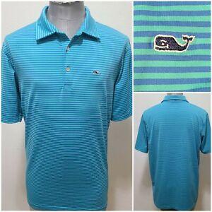 Vineyard Vines Striped Polo Shirt Light Blue Preppy Golf Stretch Men's Size L