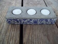 Vintage Cement Stone 3 Votive Blue White Floral Tile Candle Holder 7-3/4 x 3-1/4