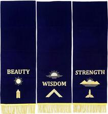 MASONIC BLUE LODGE PEDESTAL COVERS - SET OF THREE HAND EMBROIDERED (MPCS-02 GL)