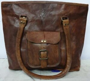 """Women's Brown Cow Leather Tote Shoulder Hand Bag Handmade Purse Large 16"""" Inch"""