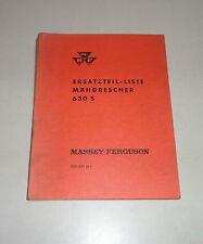 Teilekatalog /  Ersatzteilliste Massey Ferguson Mähdrescher 630S - St. 05/1961